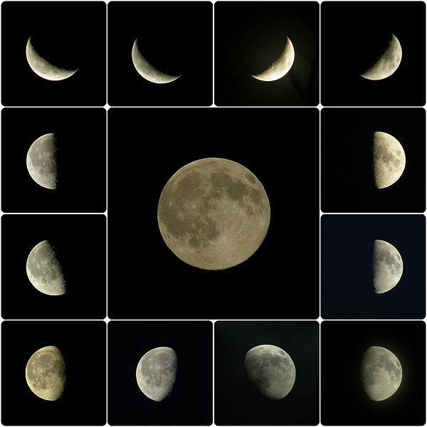 Mosaique des phases de la lune